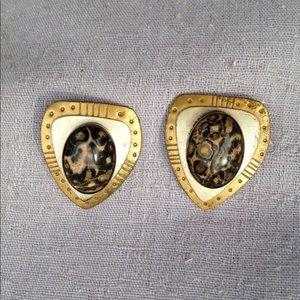 Vintage, Big, Eighties Tribal Earrings